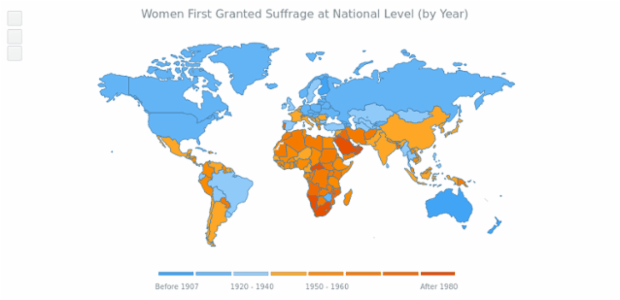 World Women Suffrage Map created by anonymous