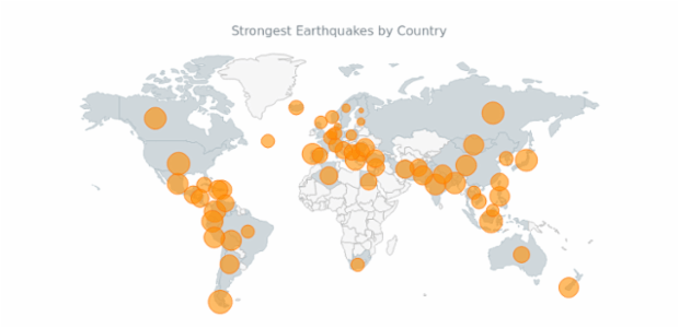 Bubble Earthquakes Map created by AnyChart Team