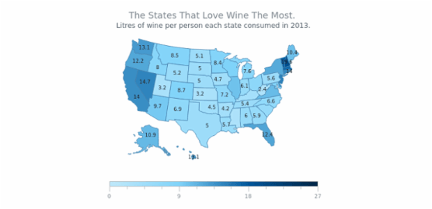 Wine Consumption Map of USA created by AnyChart Team
