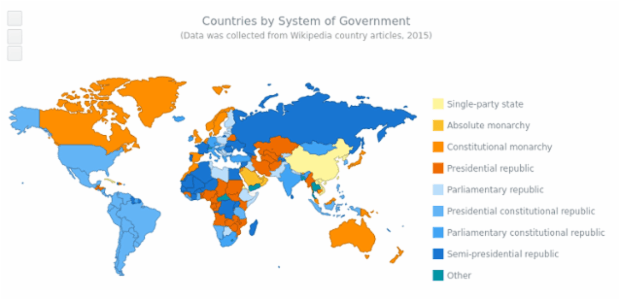 World Governments Map created by AnyChart Team