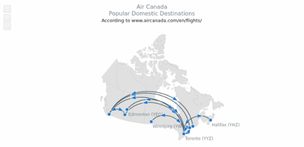 Air Canada Popular Destinations created by AnyChart Team