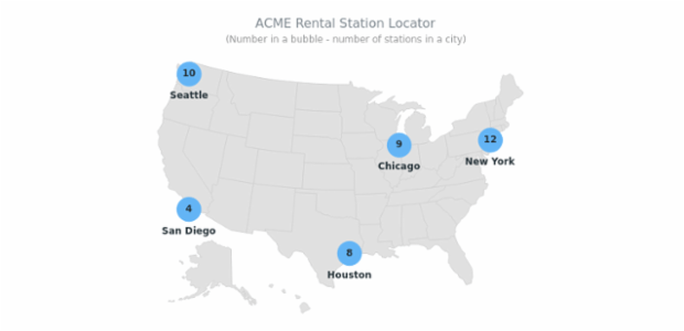 Rental Station Locator created by AnyChart Team