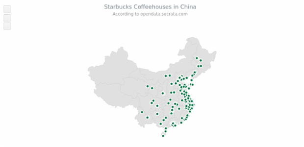Starbucks in China created by AnyChart Team