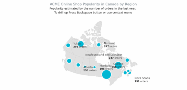 ACME sales in Canadian Regions created by AnyChart Team