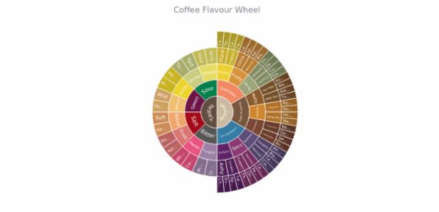 Coffee Flavour Wheel created by AnyChart Team, Sunburst Chart: coffee aroma and taste